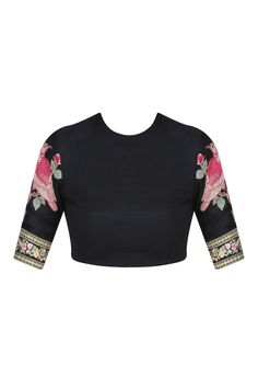 Dark pink and black cutwork brocade pallu saree with embroidered blouse piece…