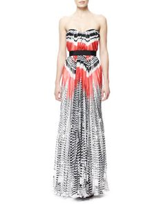 Feather-Print Strapless Chiffon Gown, Red/White/Black by Alexander McQueen at Neiman Marcus.
