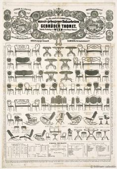 This is one of Thonet's catalogs. In 1853 Michael Thonet transfered his company to his sons and it started to be called Gebrüder Thonet.