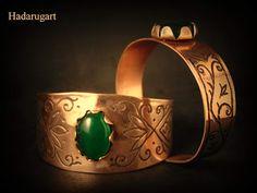 Copper Art, Email, Cuff Bracelets, Leather, Romania, Jewelry, Popular, Green, Jewlery