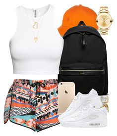 """Orange."" by livelifefreelyy ❤ liked on Polyvore featuring River Island, Yves Saint Laurent, H&M, NIKE, Movado and Joolz by Martha Calvo"