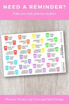 Rainbow trash can planner stickers help you remember your chores. Cute Planner, Planner Tips, Planner Supplies, Planner Pages, Happy Planner, New Sticker, Sticker Shop, Printable Planner Stickers, Printables