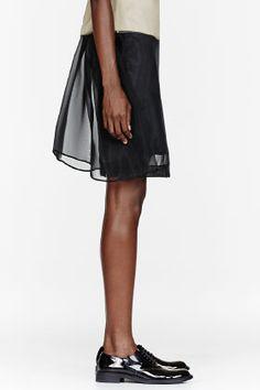 SIMONE ROCHA Black Mesh Crin Plain Skirt