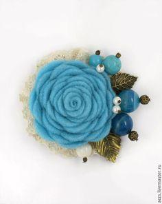 """Броши ручной работы. Ярмарка Мастеров - ручная работа. Купить Брошь """"Морской бриз"""" - брошь в форме цветка из фетра. Handmade."""