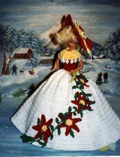 Crochet Fashion Doll Barbie Pattern- #295 CHRISTMAS POINSETTIAS