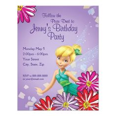 Disney Girl's Birthday Party Tinker Bell Birthday Invitation