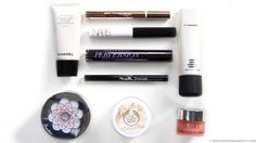 Chanel Les Beiges All-In-One Healthy Glow Fluid Broad Spectrum SPF 15 Sunscreen, The Body Shop Vitamin E Aqua Boost Sorbet, Nars Smudge Proof Eyeshadow Base, Maybelline Eye Studio Master Precise Ink Pen Eyeliner, MAC Strobe Cream, L'Oreal Magic Lumi Highlighting Concealer, Clinique All About Eyes Rich eye cream, Guerlain Meteorites Powder for the Face, Urban Decay Perversion Mascara
