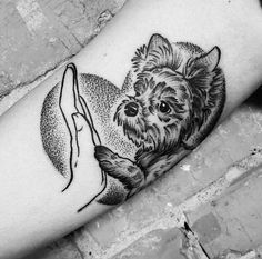 #dogtattoo #tattoo #dog #arm #blackworker #dotwork #yorkie #love #minimalistic #sweet #tattoodog