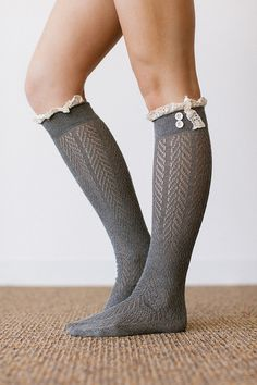 Women's Long Over The Knee Boot Socks with Open by ThreeBirdNest, $28.00