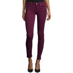 Paige Denim Verdugo Ultra Skinny Jeans ($180) ❤ liked on Polyvore featuring jeans, calças, sweet wine, fitted jeans, super skinny jeans, skinny jeans, skinny fit jeans and purple jeans