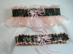 Camo Wedding Cakes Mossy Oak | MOSSY OAK CAMOUFLAGE wedding garters deer camo garter Coral and pink