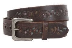 1 1/2 Inch Snap On Soft Hand Floral Tree Engraving Oil Tanned Vintage Full Grain Leather Belt Size: 32 Color: Brown beltiscool. $29.37