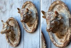 Ceramic Cow and Bull Cameo Plaques, Set of are full of exceptional details. Visit the Antique Farmhouse for more kitchen cow decor. Cow Decor, Wall Decor, Antique Farmhouse, Farmhouse Decor, Shabby Chic Shops, Paris Flea Markets, Cow Head, Faux Taxidermy, Red Barns