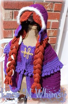 Lace and Whimsy: Crochet Pattern Frozen Anna Cape Costume                                                                                                                                                                                 More