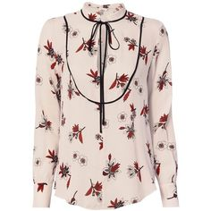 A.L.C. Women's Walker Floral Print Blouse (23.325 RUB) ❤ liked on Polyvore featuring tops, blouses, pink floral blouse, silk print blouse, floral blouse, pink silk blouse and tie-neck blouses