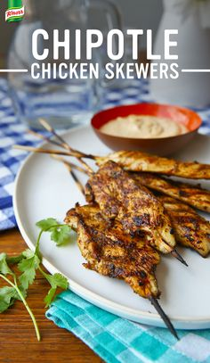 This easy, family friendly recipe for  Chipotle Chicken Skewers is amazing with rice. 1. Process vegetable oil, onion, tightly packed fresh cilantro, Knorr® Chicken flavored Bouillon Cube, canned chipotle peppers in adobo sauce, sugar, and garlic in a blender or food processor until smooth 2. Thread boneless chicken onto 8 skewers, arrange in a large baking dish, rub with mixture, cover, and marinate in refrigerator 3. Grill or broil chicken 4. Serve with dipping sauce.