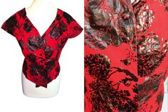 Vintage Haute Couture Red Black Floral Print Coated Cotton Kimono Button Top Blouse, Summer Party Festival Rockabilly Pin Up Blouse – Party Ideas 50s Vintage, Vintage Tops, Cotton Kimono, Rockabilly Pin Up, Power Dressing, Holiday Dresses, Printed Blouse, Red Black, Outfit Of The Day