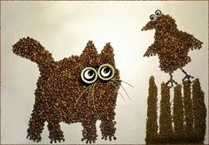 Coffee bean art is just as enjoyable as drinking a cuppa joe. These wonderful coffee bean art creations are the works of Irina Nikitina. Coffee Bean Art, My Coffee, Coffee Beans, Coffee Cartoon, Coffee Painting, How To Make Coffee, Creative Artwork, Cartoon Styles, Art Forms