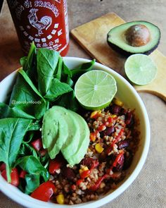 Vegan buckwheat with chili beans, avocado and fresh salad