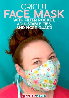 - Jennifer Maker Cricut Face Mask Pattern with Filter Pocket, Adjustable Ties, and Nose Guard - Free Printable Pattern and SVG Cut File for Cricut Sewing Patterns Free, Free Sewing, Sewing Tutorials, Sewing Hacks, Sewing Projects, Sewing Tips, Pattern Sewing, Free Pattern, Easy Face Masks