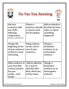 Great idea!!! Revising and Editing can be a very difficult task for most students. These 2 tic-tac-toe Revise & Edit boards make it fun and less overwhelming.
