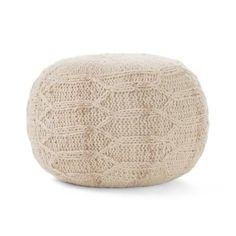 Malibu Ivory Round Pouf 11649 - The Home Depot Fabric Ottoman, Pouf Ottoman, Look Boho Chic, Boho Style, Papasan Chair, Boho Living Room, Inspired Homes, Hand Weaving, Christopher Knight