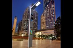 Far from a standard street lamp, Prona is a solar-powered multimedia interactive display smart street light equipped with CCTV, charging stations, and more. Solar Energy, Solar Power, Interactive Display, Street Lamp, Indoor Outdoor, Skyscraper, Multi Story Building, Landscape, Architecture