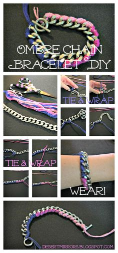 Desert Mirrors: Ombre Chain Bracelet DIY It doesn't have to be ombré, you could use any colour.