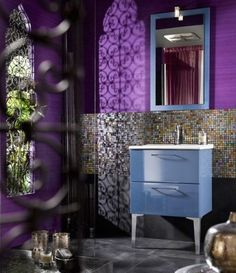 2018 pantone color of the year, pantone color of the year 2018, Dash of color in the tile to break up the purple wall, bright purple, dark purple, bright purple, purple and gray bathroom, pantone ultra violet