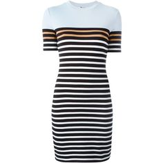 T By Alexander Wang striped T-shirt dress ($240) ❤ liked on Polyvore featuring dresses, casual dresses, vestido, blue, blue t shirt dress, tee dress, blue short sleeve dress, short dresses ve short blue dresses