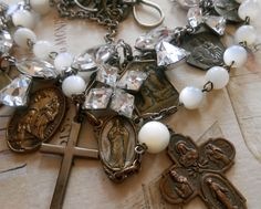 Vintage+Religious+Medal+Necklace+Repurposed+by+Vinchique+on+Etsy,+$205.00