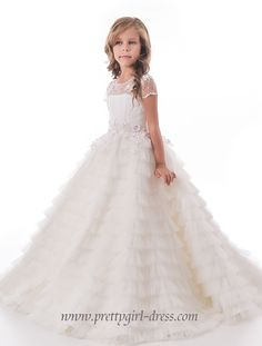 179.00$  Buy here - http://vitxt.justgood.pw/vig/item.php?t=1fyj32u4929 - Charming Ball Gown Ruffle Tulle Flower Girl Dress - www.prettygirl-dress.com 179.00$