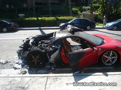 Ferrari 458 Italia crashed in Costa Mesa, California