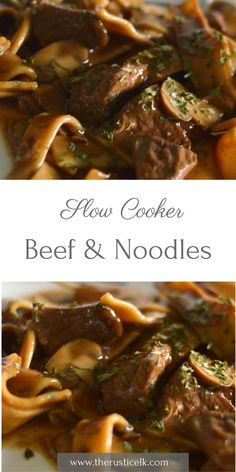 Slow cooker beef and noodles - My current obsession is using the slow cooker as much as possible. This delicious, hearty, savory meal is easy to make and the perfect mix of tender, seasoned beef and a hearty wine and gravy sauce. Sure to be a crowd pleaser and able to have dinner on the table in less than 20 minutes!