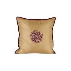 NOVICA Hand-Embroidered Silk 16x16 Cushion Cover from India ($58) ❤ liked on Polyvore featuring home, home decor, throw pillows, cushion covers, gold tone, pillows & throws, silk throw pillows, floral home decor, silk accent pillows and india home decor