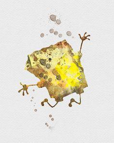 Sponge Bob Watercolor Art