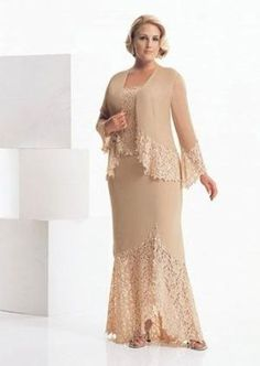 plus size mother of the bride dresses | trim on the skirt, jacket, and top make this mother of the bride ... by christa