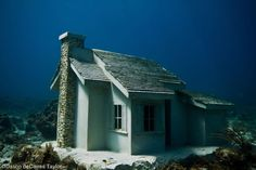 Jason Decaires Taylor under water house.