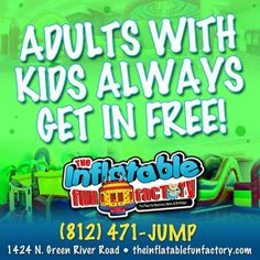 The Inflatable Fun Factory is fun for kids of ALL ages.  Bring your kids in and jump for FREE with us today!
