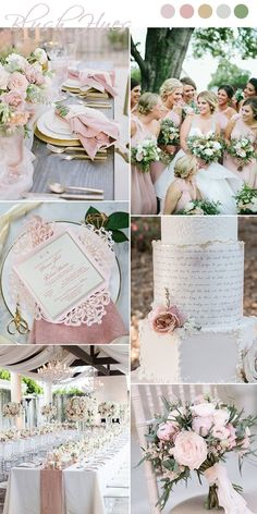 elegant blush pink and greenery spring wedding ideas wedding palette 7 Chic and Romantic Blush Pink Modern Wedding Color Ideas Pink Wedding Colors, Blush Pink Weddings, Wedding Color Schemes, Romantic Weddings, Gold Weddings, Spring Weddings, Unique Weddings, Elegant Wedding Cakes, Fairytale Weddings
