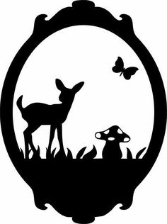 Sillouette bambi and butterfly would be a cute window decoration. Silhouette Cameo, Machine Silhouette Portrait, Silhouette Projects, Black Silhouette, Paper Cutting, Silhouettes, Motifs Animal, Wood Burning Patterns, Kirigami
