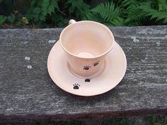 Tappancsos kávéscsésze alátéttel, Konyhafelszerelés, Bögre, csésze, Kerámia, Meska