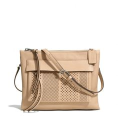 The Bleecker Felicia Crossbody In Striped Perforated Leather from Coach