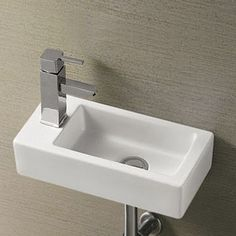 Browse the Rondo Wall Hung Small Cloakroom Basin and add some modern style to your smaller bathroom. Now in stock at Vic Cloakroom Toilet Downstairs Loo, Small Cloakroom Basin, Small Basin, Upstairs Bathrooms, Cloakroom Ideas, Small Bathrooms, Bathroom Ideas, Understairs Toilet, Small Toilet Room
