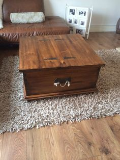 Solid Wood Storage Trunk Chest Coffee Table