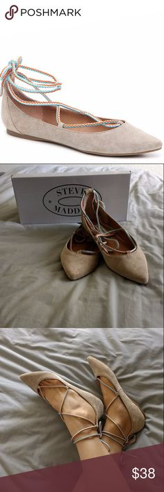 "NIB Steve Madden lace up pointed toe flats -Lace-up genuine suede pointed toe ""Emilie"" flats in tan color with rubber sole -Woven turquoise, white and orange cords with metal tips add a whimsical touch to these comfy flats -New in box, never worn! -pet-free, smoke-free home Steve Madden Shoes Flats & Loafers"