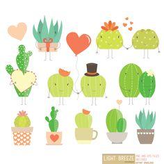 Valentine's Day Love Cactus Digital Clipart & Vector Set - Instant Download…