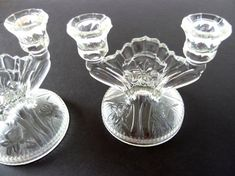 HAVE 1 OF THESE. These beautiful, vintage clear Depression glass candle holders are Jeannette Glass IRIS pattern. The double light candlesticks have twisted. Vintage Jars, Vintage Dishes, Vintage Items, Glass Candle Holders, Candlestick Holders, Fostoria Glass, Fairy Lamp, Antique Glassware, Glass Candlesticks