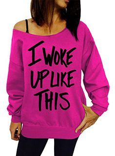 I Woke Up Like This Slouchy Sweatshirt - Medium Pink Black Ink -- Details can be found by clicking on the image.