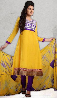 Purple and Yellow Cotton Churidar Suit #salwarkameez-style #cotton-salwarkameez